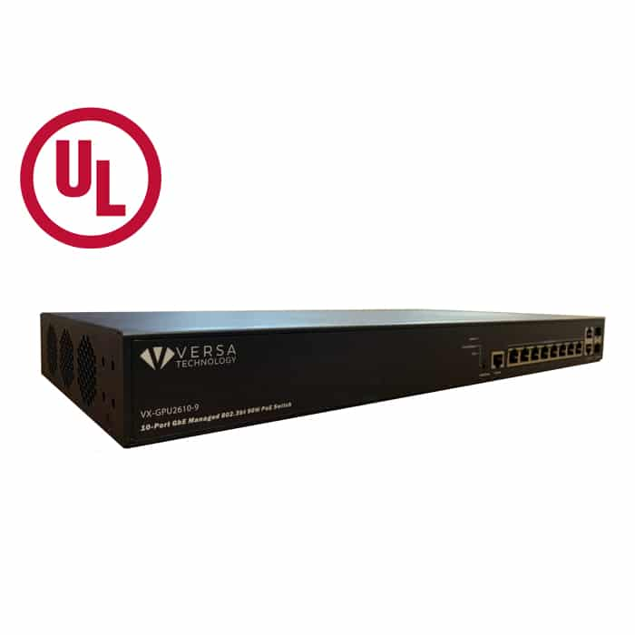 VX-GPU2610-9 UL PoE Switch angle